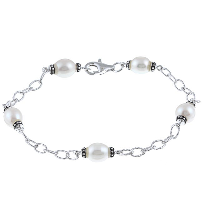 La Preciosa Sterling Silver Freshwater Pearl Bracelet (6-8 mm)