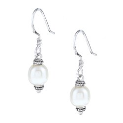 La Preciosa Sterling Silver Freshwater Pearl Earrings (6-8 mm)