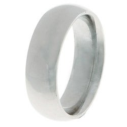 14k White Gold Men's 6-mm Comfort Fit Wedding Band - Thumbnail 1