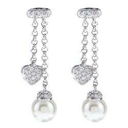 La Preciosa Sterling Silver Faux Pearl and Cubic Zirconia Earrings
