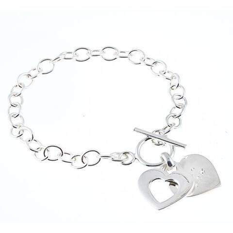 La Preciosa Sterling Silver CZ Double Heart 'Love' Toggle Bracelet