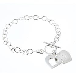 La Preciosa Sterling Silver CZ Double Heart 'Love' Toggle Bracelet