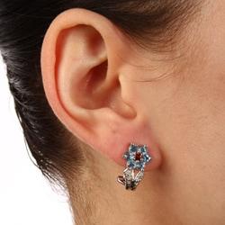 Kabella Sterling Silver Blue Topaz and Garnet Flower Earrings