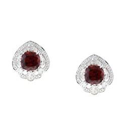 Kabella Sterling Silver Garnet and Cubic Zirconia Earrings