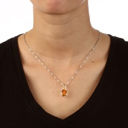 Kabella Sterling Silver Citrine Necklace - Thumbnail 2