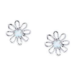 La Preciosa Sterling Silver Created Opal Flower Earrings