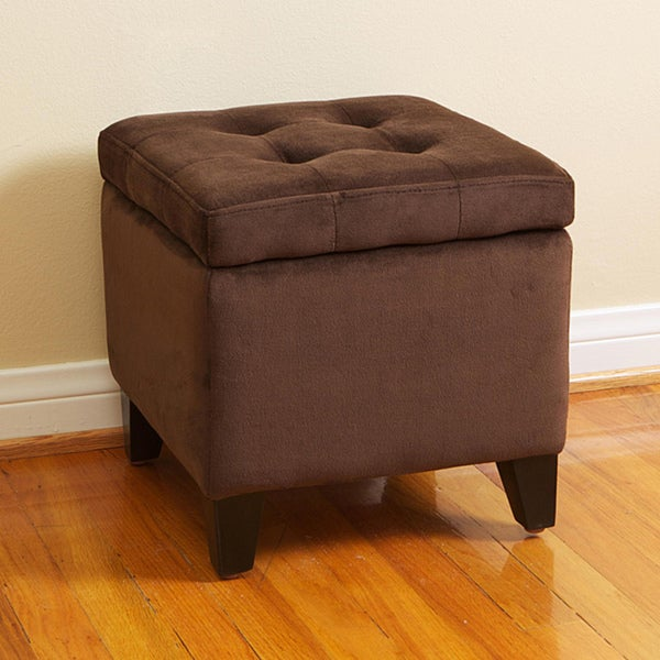 Tufted Chocolate Brown Microfiber Storage Ottoman