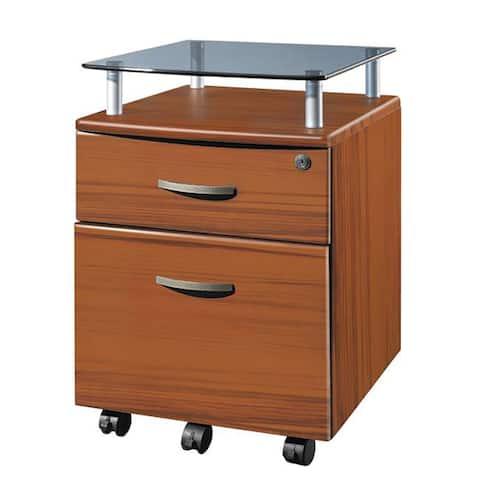Porch & Den Capilano Glass Top Rolling File Cabinet