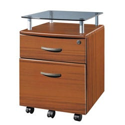 Deluxe Glass Top Rolling Hanging File Cabinet