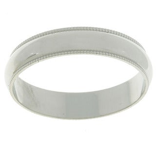 10k White Gold Milligrain 4-mm Wedding Band