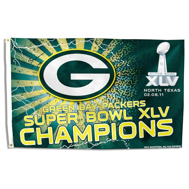 Green Bay Packers Super Bowl Champion Banner Flag - Thumbnail 0