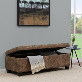 Handy Living Blane Paisley Wall Hugger Bench Trunk Storage Ottoman