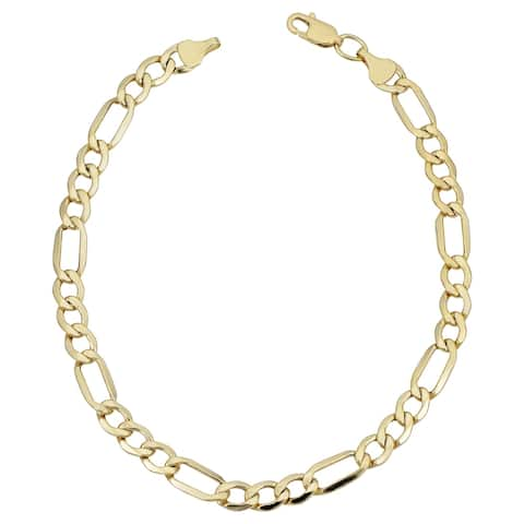 Fremada 10k Yellow Gold Classic Figaro Bracelet (5.6 millimeters, 8.5 inches)