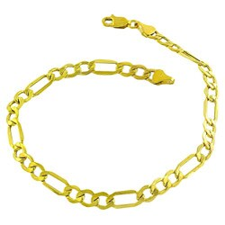 Fremada 10k Yellow Gold Classic Figaro Bracelet