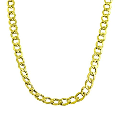 Fremada 10k Yellow Gold Curb Necklace (20-24 inches)