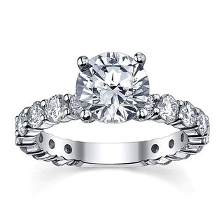 14k White Gold 3 1/6ct TDW Round Diamond Ring
