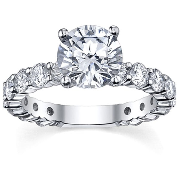 18k White Gold 3 1/10ct TDW Solitaire Diamond Engagement Ring (G-H, SI1-SI2)