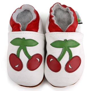 Red Cherry Soft Sole Leather Girl's Shoes