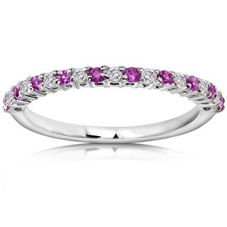 Annello by Kobelli 14k White Gold Pink Sapphire and 1/10ct TDW Diamond Band (H-I, I1-I2)