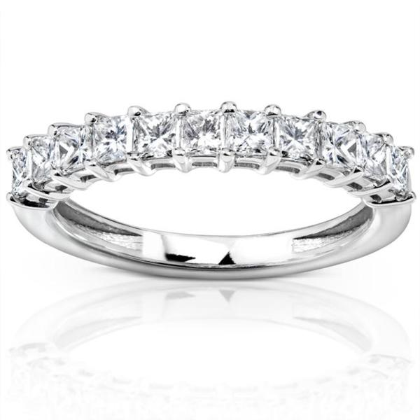 Annello by Kobelli 14k White Gold 3/4ct TDW Princess Diamond Wedding Band (H-I, I1-I2)