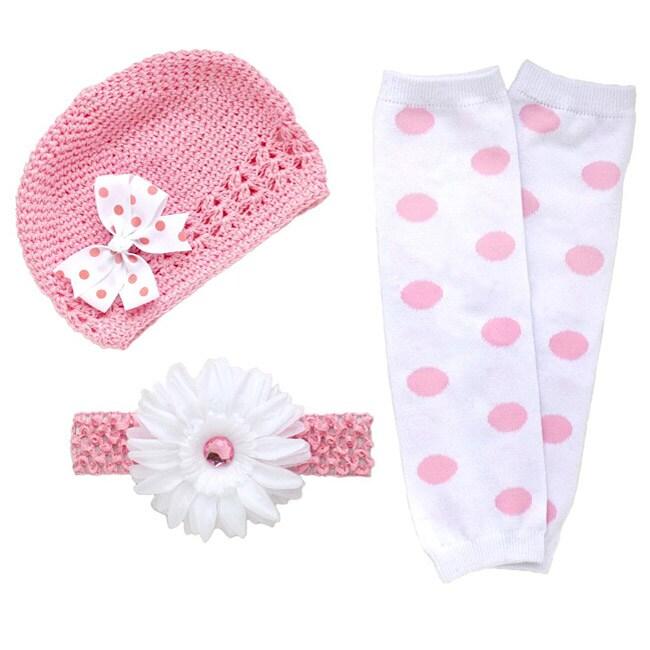 Headbandz Pink/ White 5-piece Baby Accessory Pack