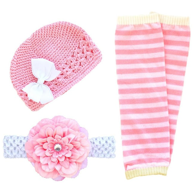Headbandz Double Pink and White 5-piece Baby Accessory Pack