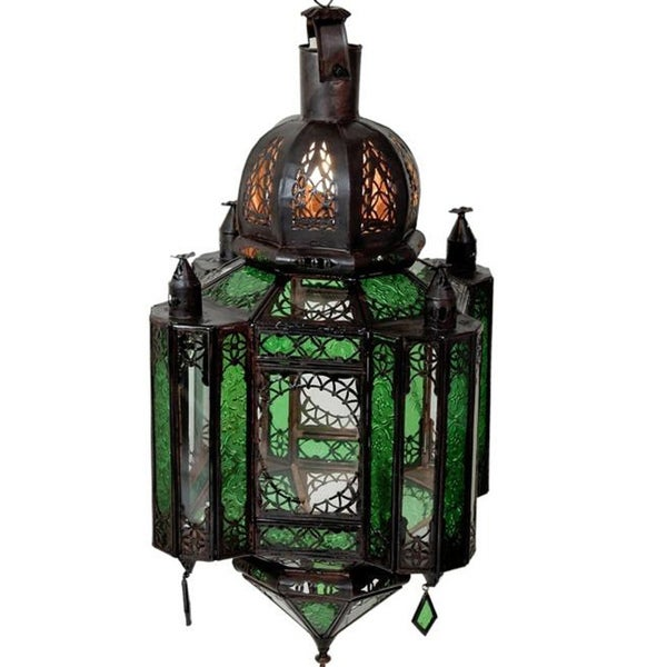 Emerald Stained Glass 1-light Bronze Chandelier (Morocco)