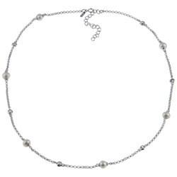 La Preciosa Sterling Silver FW Pearl and Cubic Zirconia Necklace (5 mm)