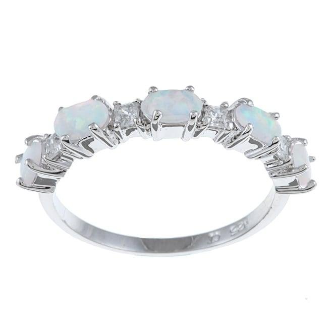La Preciosa Sterling Silver Created Opal and Cubic Zirconia Ring