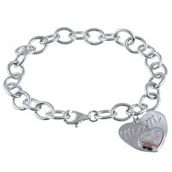 La Preciosa Sterling Silver Created Opal 'Mom' Charm Bracelet
