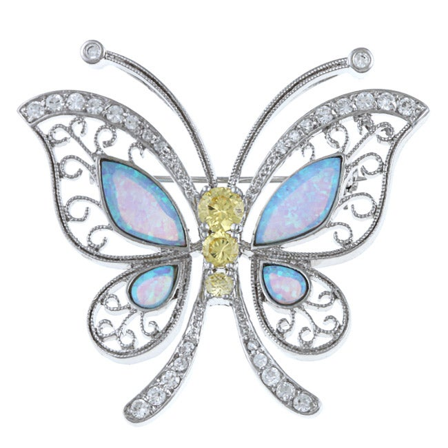 La Preciosa Sterling Silver Created Opal and CZ Butterfly Pin