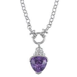 La Preciosa Sterling Silver Purple Cubic Zirconia Necklace