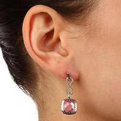 La Preciosa Sterling Silver Pink Cubic Zirconia Earrings