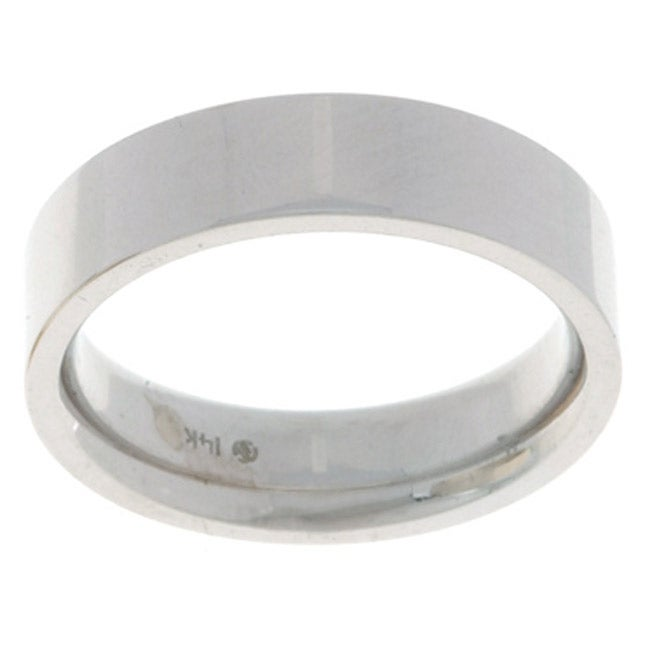 10k White Gold Women s Flat 5 mm Wedding Band Free Shipping Today Ove