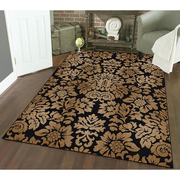 Admire Home Living Amalfi Black/ Beige Damask Area Rug (3'3 x 4'11)