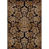 "Admire Home Living Amalfi Black/ Beige Damask Area Rug - 9'10"" x 12'10"""