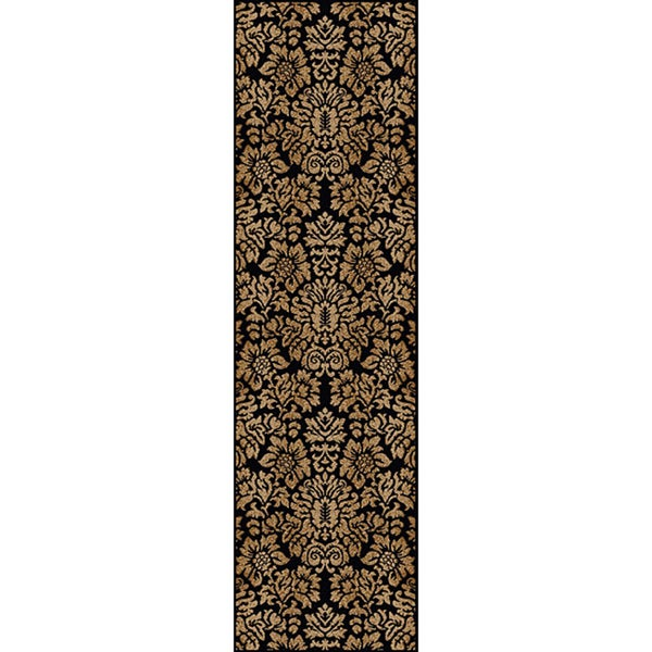 Admire Home Living Amalfi Black/ Beige Damask Area Rug (2'2 x 7'7)