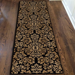 Admire Home Living Amalfi Black/ Beige Damask Area Rug (2'2 x 7'7) - 2'2 x 7'7