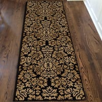 Admire Home Living Amalfi Black/ Beige Damask Area Rug - 2'2 x 7'7