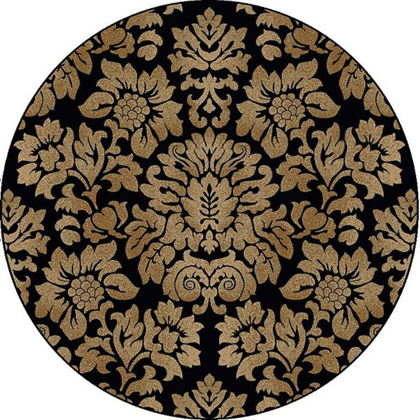 Admire Home Living Amalfi Black/ Beige Damask Area Rug (8' Round)