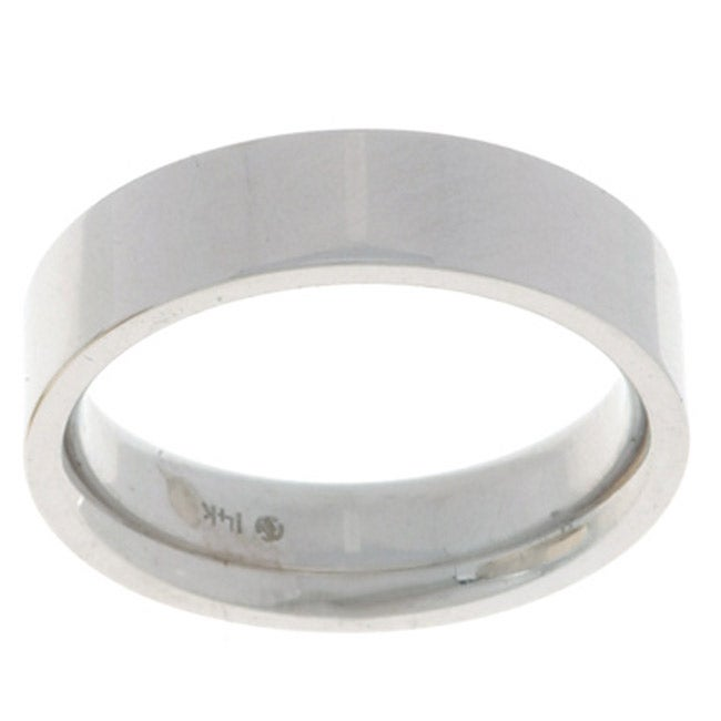 10k White Gold Mens Flat 5mm Wedding Band Free Shipping Today