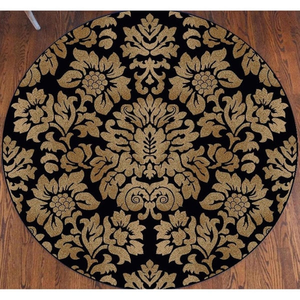 Admire Home Living Amalfi Black/ Beige Damask Area Rug (5'3 Round) - 5'3 x 5'3
