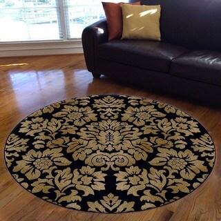 Admire Home Living Amalfi Black/Beige Damask Floral Area Rug (5'3 Round)