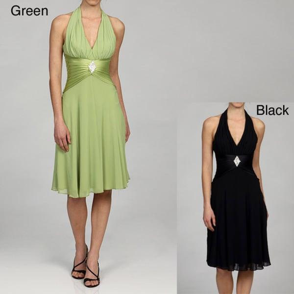 Issue New York Women's Black Size 4 Pleated Waist Halter Dress