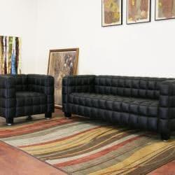 Arriga 2-piece Black Leather Modern Sofa Set