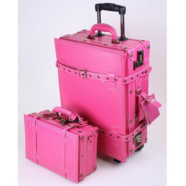 La Vida Pink Vintage-look 2-piece Carry-On Luggage Set - Free ...