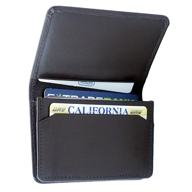 Leatherbay Dark Brown Leather Flip-Top Card Holder