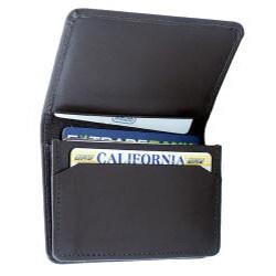 Leatherbay Dark Brown Leather Flip-Top Card Holder - Thumbnail 1