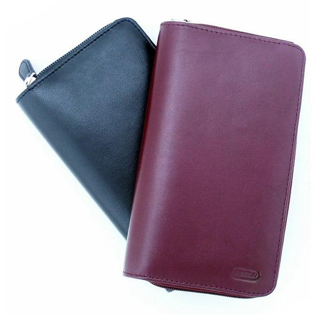 Leatherbay Black Women's Leather Checkbook Wallet