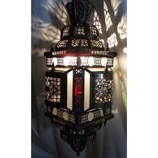 Alibabba Stained Glass 1-light Bronze Chandelier  , Handmade in Morocco